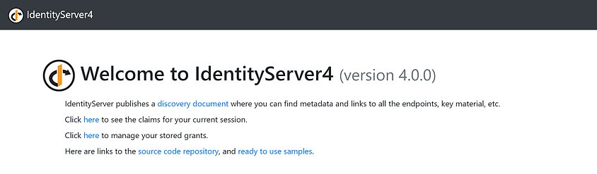 The IdentityServer4 QuickStart UI splash screen showing a welcome message and some links to help pages