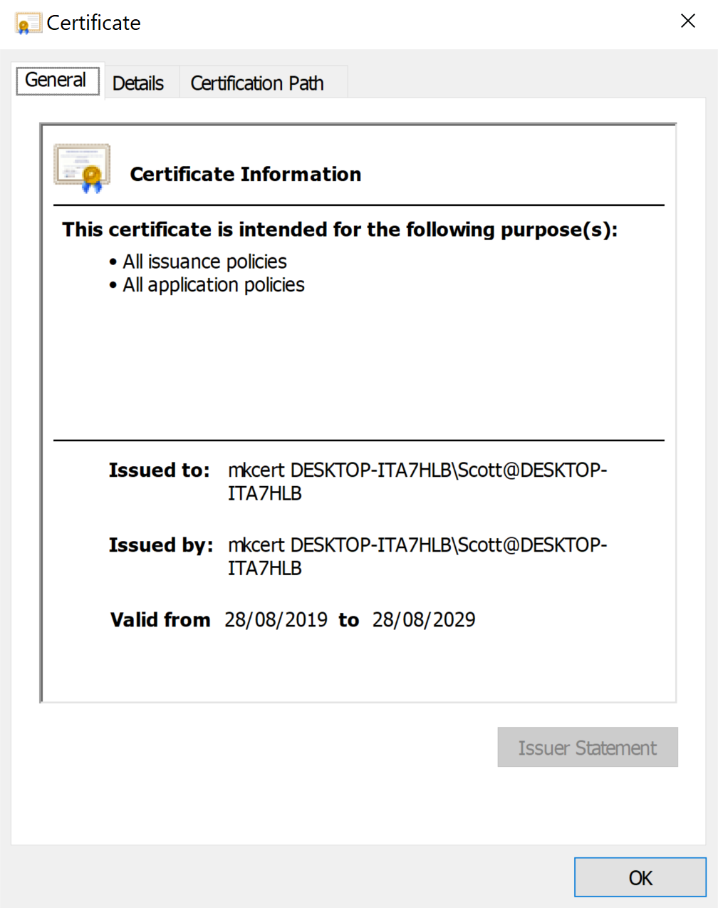 The mkcert Certificate Authority that was installed after running mkcert -install. This shows that the CA is issued to mkcert plus followed by my machine name and is valid for 10 years