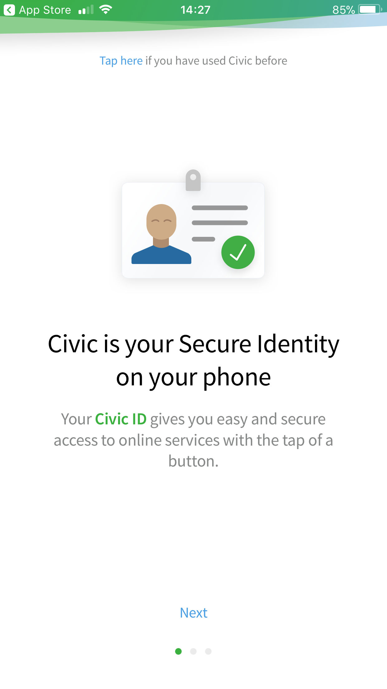 Civic App Intro Screen 1