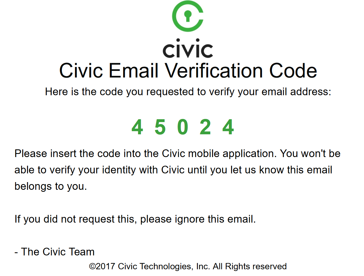Civic Verification Email