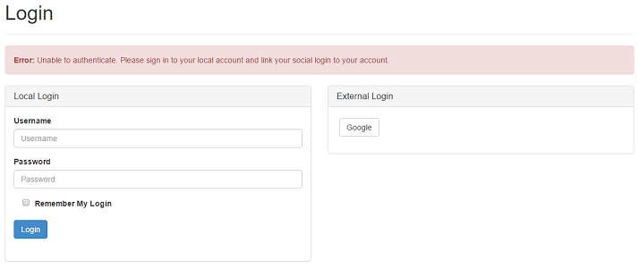 Denying external authentication with local account