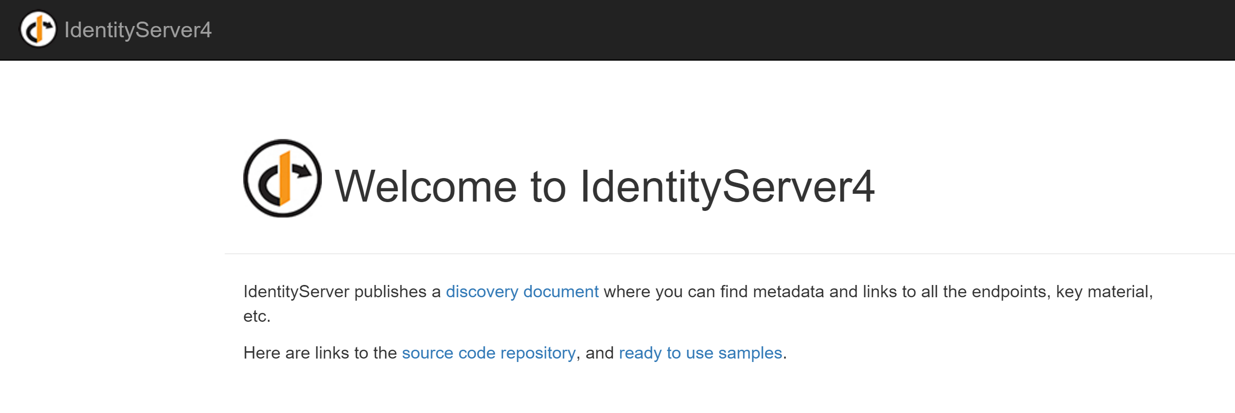 IdentityServer 4 Quickstart UI Splash Screen
