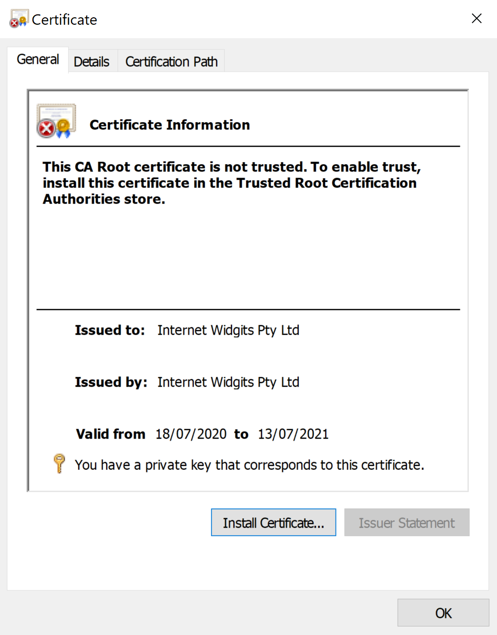 A certificate, opened in Windows 10, showing that a private key corresponding to this certificate is present.