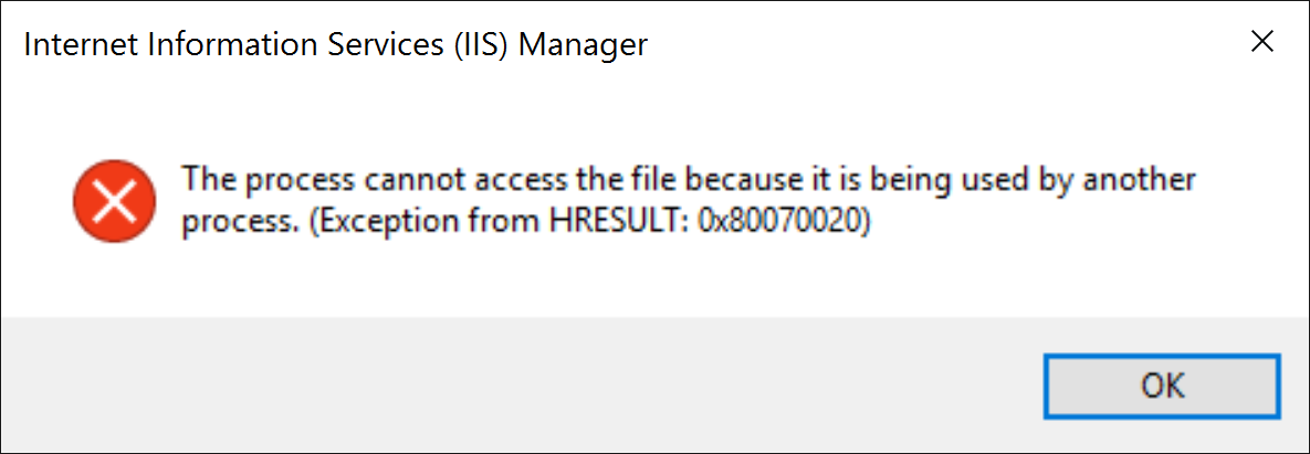 IIS - The Process Cannot Access the File Because it is Being Used by